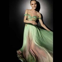 Zuhair Murad RTW FW 07-08 green and pink dress with gold details