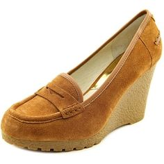 Michael Michael Kors Rory Loafer Women Open Toe Suede Brown Wedge Heel - Free Shipping On Orders Over $45 - Overstock.com - 20294211 - Mobile  These would go perfect with a pair of skinny khakis, royal blue and a bell sleeve Boho corset..