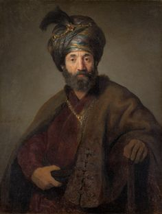 Rembrandt van Rijn and Workshop (Probably Govaert Flinck) Rembrandt van Rijn (painter) Dutch, 1606 - 1669 Flinck, Govert (painter) Dutch, 1615 - 1660 Man in Oriental Costume c. 1635 oil on canvas overall: 98.5 x 74.5 cm (38 3/4 x 29 5/16 in.) framed: 130.8 x 106 x 15.9 cm (51 1/2 x 41 3/4 x 6 1/4 in.) Andrew W. Mellon Collection1940.1.13On View
