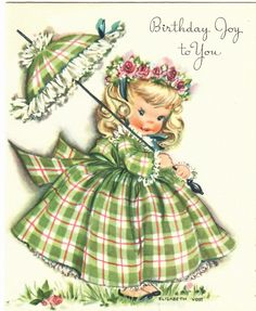 Vintage Birthday Greeting Card Little Girl Roses in Hair Green Plaid Dress & Umbrella Artist Elizabeth Voss Vintage Birthday Cards, Vintage Greeting Cards, Vintage Valentines, Vintage Ephemera, Vintage Paper, Vintage Postcards, Vintage Labels, Vintage Girls, Vintage Children