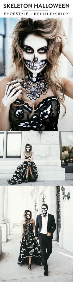 Hello Fashion takes on Halloween with amazing skeleton makeup and the most gorgeous Oscar De La Renta gown. @Hello Fashion Blog