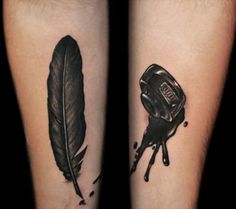 feather quill and ink tattoo Tinta Tattoo, Desenho Tattoo, Writer Tattoo, Book Tattoo, Tattoo Art, Future Tattoos, New Tattoos, Girl Tattoos, Quill Tattoo