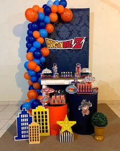 Explore the best ideas to celebrate a Dragon ball z Party using lots of Drogan ball Z birthday crafts to help you give a unique decoration style. Ball Birthday Parties, Birthday Party Decorations, Birthday Celebration, Birthday Centerpieces, Goku Birthday, Dragon Birthday, Dragonball Z Cake, Baby Showe Ideas, Z Craft