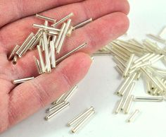 Items similar to Silver Bugle Beads Loose - Tube - Barrel - Mixed Sizes - Jewellery and Craft Supplies - 25 pcs - by DeeDeeSupplies Australian Seller on Etsy Bead Store, Bugle Beads, Jewellery Making, Jewelry Crafts, Barrel, Craft Supplies, Tube, September, Designers