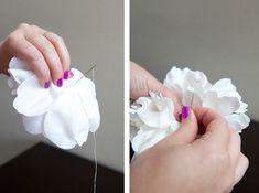 DIY   flower hair piece. Start by taking your flower apart completely. Get rid of the stem and all the cheesy plastic pieces. Next, layer your flower petals back together.. if there are some petals you don't like, throw them out – or add to them if you please