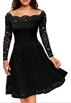 Gender: Women - Model Number: 5321 - Dresses Length: Knee-Length - Neckline: Slash neck - Sleeve Length(cm): Full - Sleeve Style: Off the Shoulder - Silhouette: A-Line - Season: Summer - Brand Name: FEIBUSHI(clothes) - Material: Polyester,Spandex,Cotton,Lace - Pattern Type: Solid - Style: Formal - Waistline: Natural - Decoration: Zippers - Size: S,M,L,XL,XXL,3XL - color: Dark Blue,red,Black,purple - Description 2: Lace Dress - Description 3: Lace Off Shoulder Dress - Description 4…