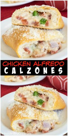 These easy Chicken Alfredo Calzones are loaded with meat, cheese, and vegetables. Great dinner of game day recipe! These easy Chicken Alfredo Calzones are loaded with meat, cheese, and vegetables. Great dinner of game day recipe! Pollo Alfredo, Chicken Alfredo, Chicken Calzone, Chicken Stromboli Recipe Easy, Easy Calzone Recipes, Calzone Ideas, Chicken Flatbread, Breaded Chicken, Stuffed Chicken