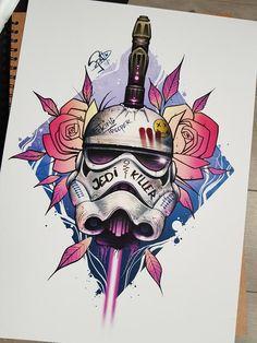 Stormtrooper Tattoo, Star Wars Stormtrooper, Tattoo Sketches, Tattoo Drawings, Star Wars Painting, Star Wars Drawings, Star Wars Tattoo, Star Wars Fan Art, Tattoo Stencils