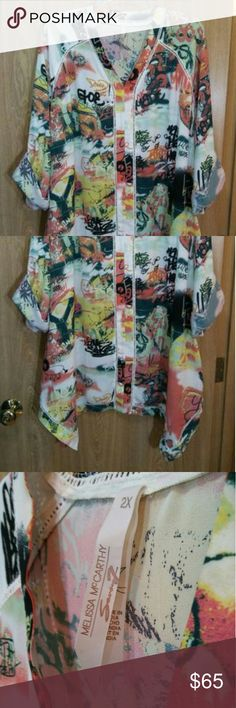 Melissa McCarthy Seven7 - Multi colored top Terrific condition! Melissa McCarthy Tops Blouses