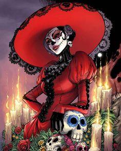 Lady Mechanika, Compass Tattoo, La Muerte Tattoo, Los Muertos Tattoo, Sugar Skull Girl, Sugar Skulls, Day Of The Dead Artwork, Sugar Skull Artwork, Mexico Day Of The Dead