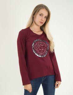 069f3fc2bdca Γυναικεία μπορντό βαμβακερή μπλούζα Lipsy τύπωμα 21800020E  online  eshop   τορούχο  torouxo