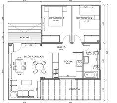 Modelo de 79 m2 con cocina americana y dos dormitorios amplios de 12 m2, ademas este plano de casa cuenta con amplias terrazas.