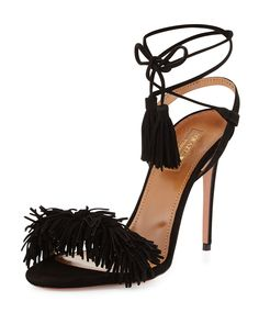 "Aquazzura suede sandal. Approx. 4.3"" heel. Open toe. Fringe vamp. Tassel and…"