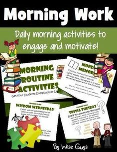FREE Upper Elementary Morning Work - Great for your 3rd, 4th, and 5th grade students. Here are the daily choices: journal writing, Trivia Tuesday, famous quotes, logic puzzles, and math fact practice. These work great as seat work or bell ringers as other students enter the room. This freebie sampler allows you to get organized and running for the morning. This starts a great morning routine you can use all school year long. {third, fourth, fifth grader approved!}