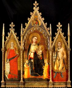 Andrea di Cione Orcagna, Madonna and Child with Maria Magdalen and St Ansano 1350