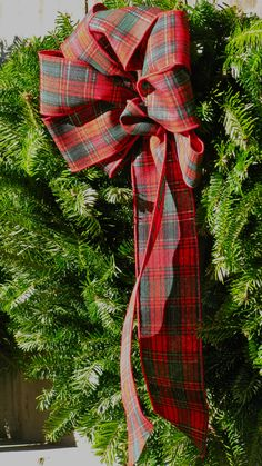 Plaid bow on a Vermont Balsam Wreath from Werner Tree Farm