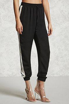 Satin Contrast Drawstring Pants