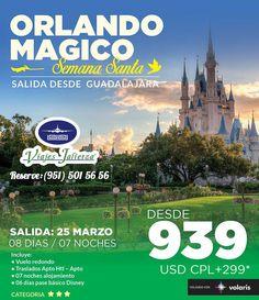 Pasa una semana en Orlando (vuelo redondo saliendo de Guadalajara) incluye pases a parques y cuponera de descuentos