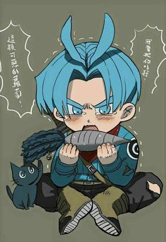 Trunks Trunks And Mai, Trunks Dbz, Anime, Rwby, Dragon Ball Z, Smurfs, Chibi, Fan Art, Purple Hair