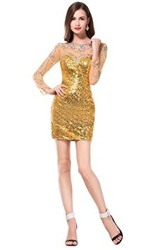 Sunvary Sequin Short Mother of the Bride Prom Dresses Long Sleeves