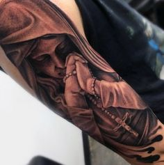 Cross And Rosary Tattoo For Guys Mother Mary Design