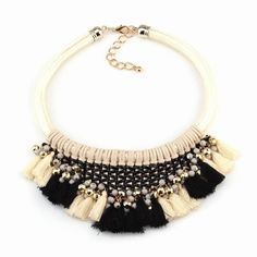 Gold big long tassel pendant bib statement choker collar chunky women necklace 262468055800. cotton necklace rope braided tassel pendant choker women necklace jewelry 2016 252409683214. neon rainbow rope chain pendant chunky choker pendant women statement necklace 252373130092. | eBay!