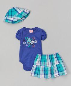 Look at this #zulilyfind! Purple Butterfly Floral Bodysuit Set - Infant by Duck Duck Goose #zulilyfinds