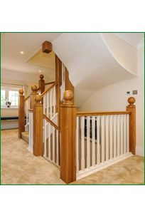 Little Gate Staircase Oak Handrail, Metal Spindles, Banisters, Refurbishment, Glass Panels, Landing, Gate, Stairs, Study