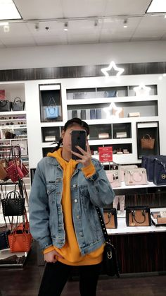 french braids, yellow hoodie, jean jacket ✨