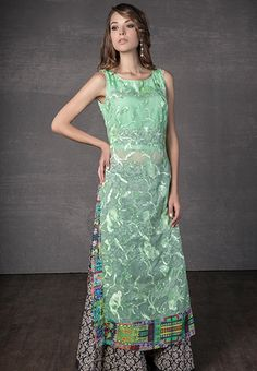 Cotton kota kurta embellished with resham embroidered jaal with cotton printed palazzo
