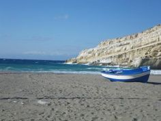"The place where the caves became a paradise for the ""hippies"" in the 70's. The hippies are missing, but Matala magic still flows and the village has been spruced up in part.  http://www.crete-hotels-rooms.com/Reservations/Calypso_Matala.htm"