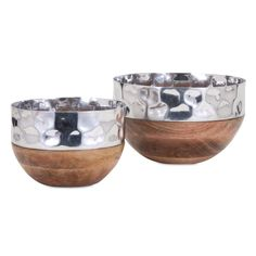 TY Persimmon Serving Bowls - Set of 2 This set of two mango wood bowls feature a polished, hammered aluminum lip. They are perfect for serving food and entertaining guests or accessorizing your coffee table. Serving Bowl Set, Wood Bowls, Cereal Bowls, Accent Pieces, Decoration, Decorating Tips, Decorative Accessories, Decorative Bowls, Mango