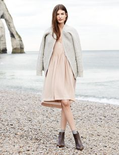 Madewell Stargaze dress worn with zip-front cardigan + the Perrie boot.