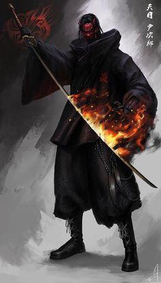 Samurai of Fire Fantasy Character Design, Character Concept, Character Art, Concept Art, Dark Fantasy Art, Fantasy Artwork, Art Ninja, Rpg Cyberpunk, Illustration Fantasy