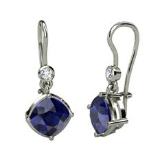Cushion Sapphire Sterling Silver Earrings with Diamond | Cushion Essential Earrings | Gemvara