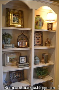 Vintage French Soul ~ 41 Creative Decorating Built In Shelves 69 Kristen S Creations Accessorized Bookcases 6 Styling Bookshelves, Decorating Bookshelves, How To Decorate Bookshelves, Arranging Bookshelves, Home Remodeling, Living Room Decor, Living Rooms, Family Room, New Homes