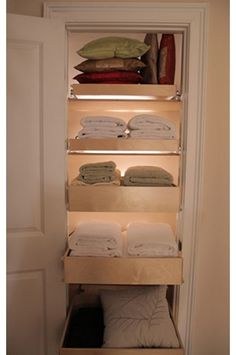 pull out shelves in linen closet