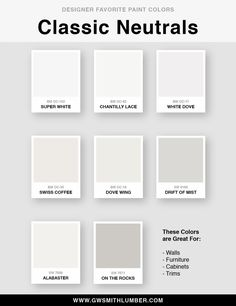 Designer Favorite Paint Colors - Benjamin Moore and Sherwin Williams House Color Schemes, House Colors, Dove Wing, Favorite Paint Colors, White Doves, Benjamin Moore, Warm Colors, Accent Colors, Painted Rocks