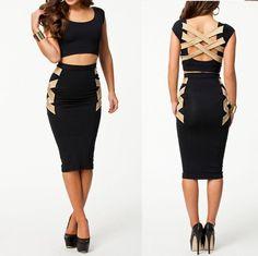 Bodycon Fashion Beige & Black Corset Back Style Knee Length Bandage Dress