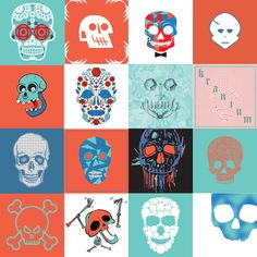 2014 UVU Collaborative Art Project. 16 Students (Graphic Designers), 5 colors, 1 theme (Skull), 30 minutes to Illustrate. This is the result!