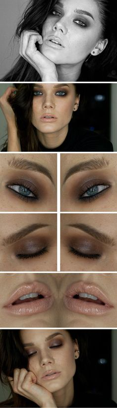 pic: grey-brown smokey eyes, lots of contouring, freckles and a nude lip