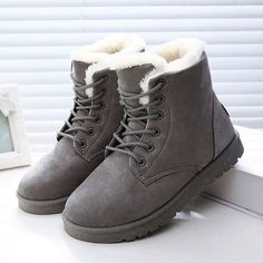 e93f95db1f56 women boots Plus cashmere warm Fashion winter snow boots lace female ankle boots  women boots winter casual shoes emu Leggings