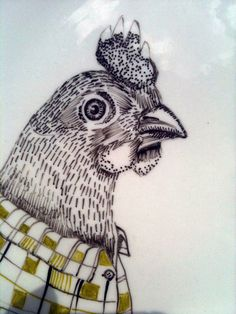 Hand Illustrated Plate  Chicken in a Shirt by PerDozenDesign, €15.00