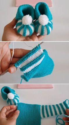 Easy to make baby shoes with pom pom tutorial, .- Einfach, Babyschuhe mit Pom Pom – Tutorial zu machen , Easy to make baby shoes with pom pom – tutorial - Baby Booties Knitting Pattern, Baby Shoes Pattern, Booties Crochet, Crochet Baby Shoes, Crochet Baby Booties, Baby Knitting Patterns, Crochet Slippers, Crochet Patterns, Kids Crochet