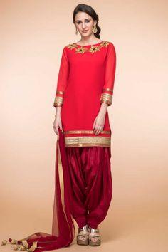 999d99598d Red Georgette Patiala Suit With Dupatta Latest Salwar Suits, Patiala Salwar  Suits, Shalwar Kameez