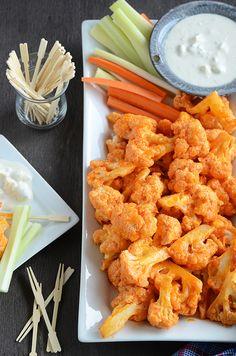Buffalo Cauliflower. Mine turned out crazy delicious!! Would definitely make a lot! I used franks buffalo sauce and it was perfect!!  WIN WIN WIN WIN WIN