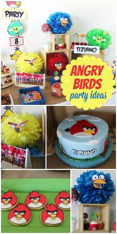 An Angry Birds boy birthday party with a fun cake, decorated cookies and party favors!  See more party planning ideas at CatchMyParty.com!