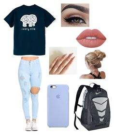 """""""school ☺☺☺"""" by siermiller on Polyvore featuring NIKE and Lime Crime"""