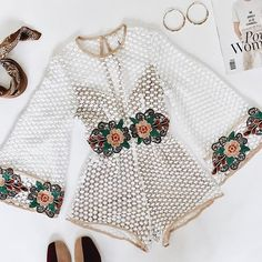 Holiday Summer Outfits Cute Floral Embroideried Mesh Bell Sleeve Romper Jumpsuits – Lupsona