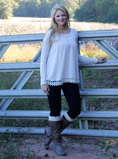 This sheer, nude top with lace detail is so classy and feminine! It looks great paired with jeans and heels to dress it up or boots to be casual! We also love it paired with a black skirt and tights for the holiday season! Our model is wearing a small!   100% polyester